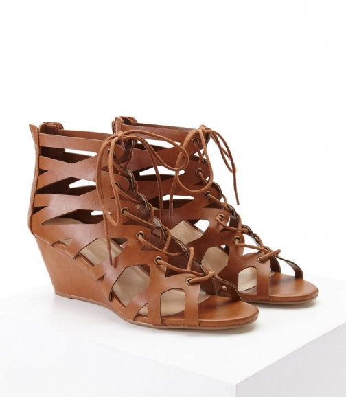 Forever21 Forever 21 Faux Leather Lace-Up Wedges , Tan Wedge Sandal