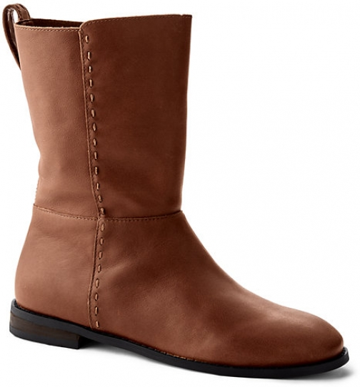 Lands' End Women's Leather Mid Calf Flat - Lands' End - Brown - 6 Boot