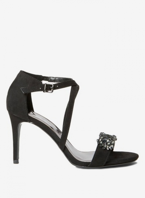 Dorothy Perkins Womens Wide Fit Black Microfibre 'Blissful' - Black, Black Heeled Sandal