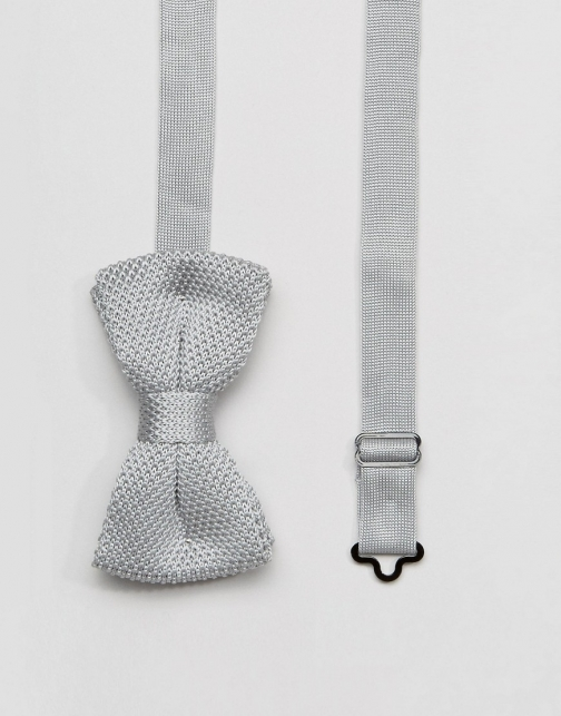 Asos 7X Knitted Grey Box Bow Tie