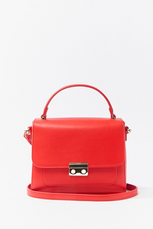 Forever21 Forever 21 Structured Flap-Top , Red Satchel
