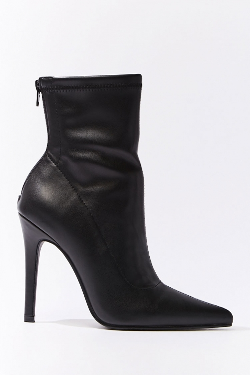 Forever21 Forever 21 Faux Leather Booties , Black Boot