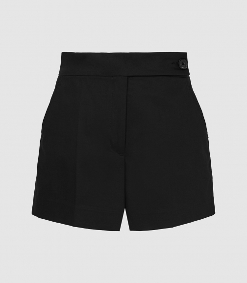 Reiss Flores - Cotton With Button Detail Black, Womens, Size 6 Short