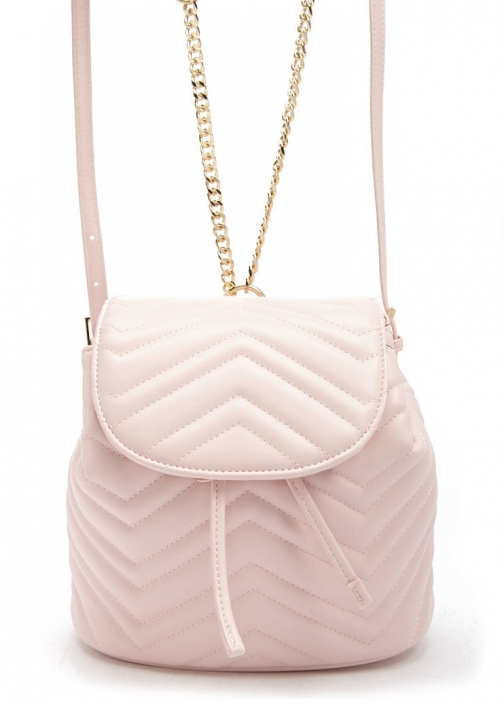 Forever21 Forever 21 Faux Leather Chevron Pink Backpack