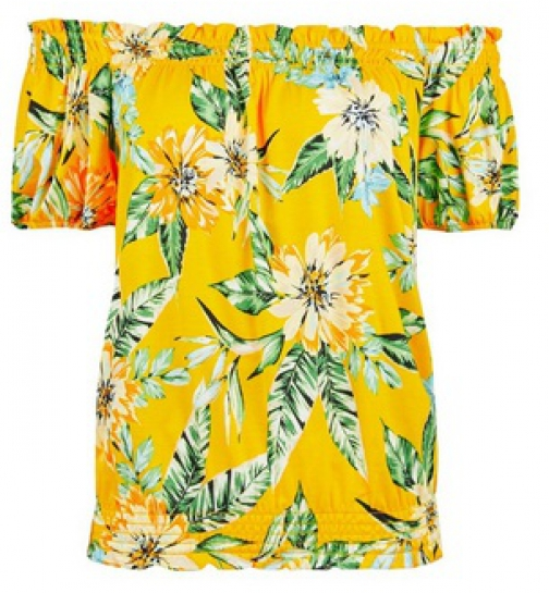 Dorothy Perkins Yellow Tropical Print Bardot Top