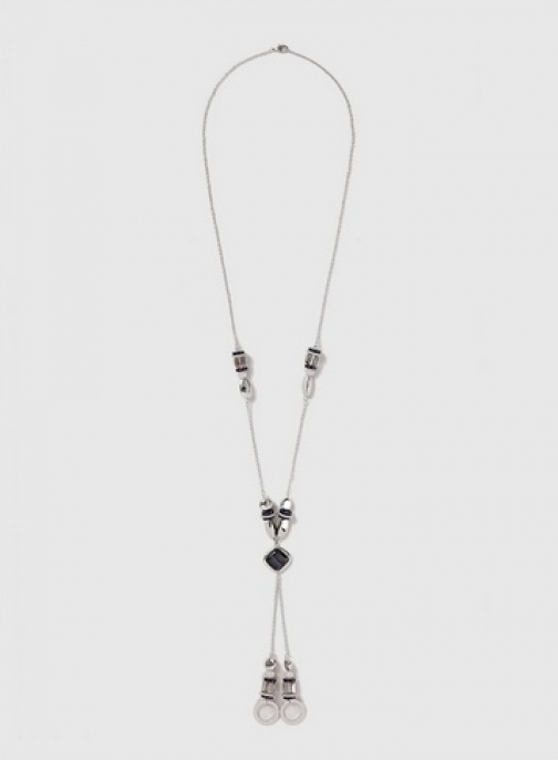 Dorothy Perkins Womens Silver Beaded Lariat - Blue, Blue Necklace