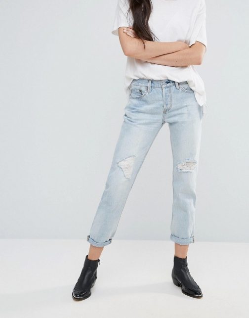 Levi's 501 CT Old Favourite Rip Boyfriend Roll Up Jeans