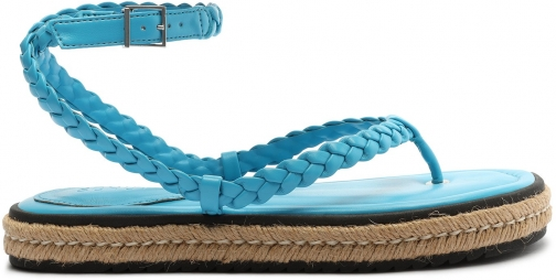 Schutz Shoes Mayna Leather And Jute - 5 True Blue Leather & Jute Espadrille