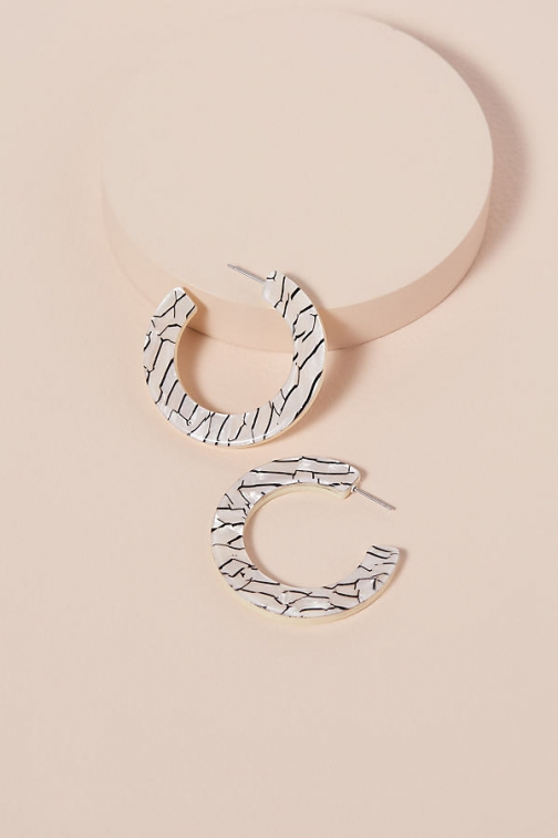 Anthropologie Striped-Resin Hoop Earring