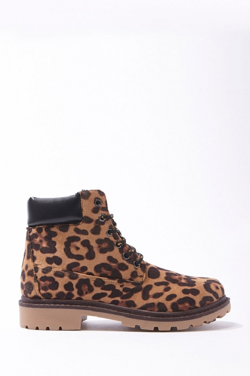 Forever21 Forever 21 Leopard Print , Black/brown Ankle Boot
