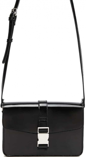 Forever21 Forever 21 Faux Patent Leather Square , Black Crossbody Bag