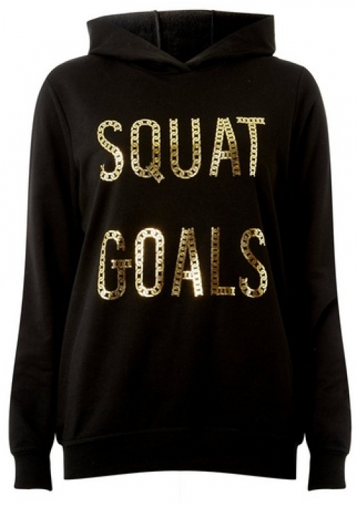 Dorothy Perkins Black Squat Goals Motif With Cotton Hoodie