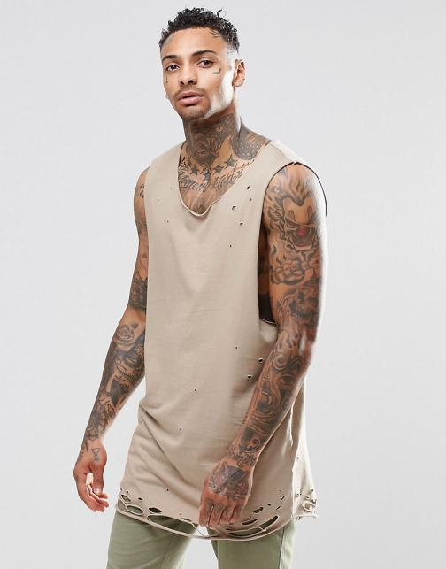 Asos Super Longline With Distressed Hem Vest
