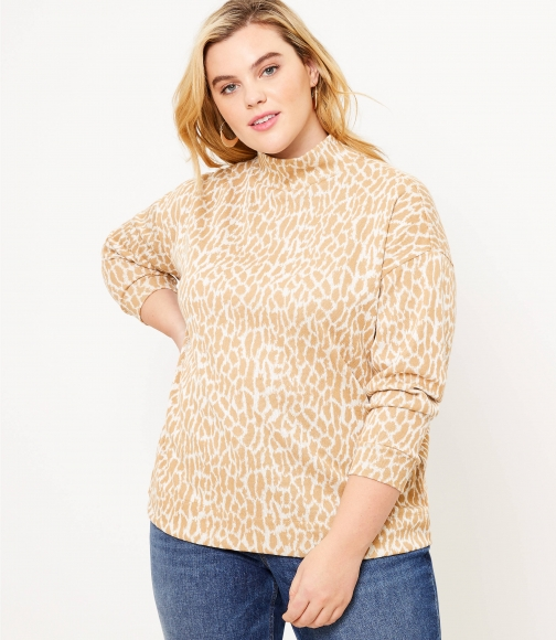 Loft Plus Animal Spotted Mock Neck Top