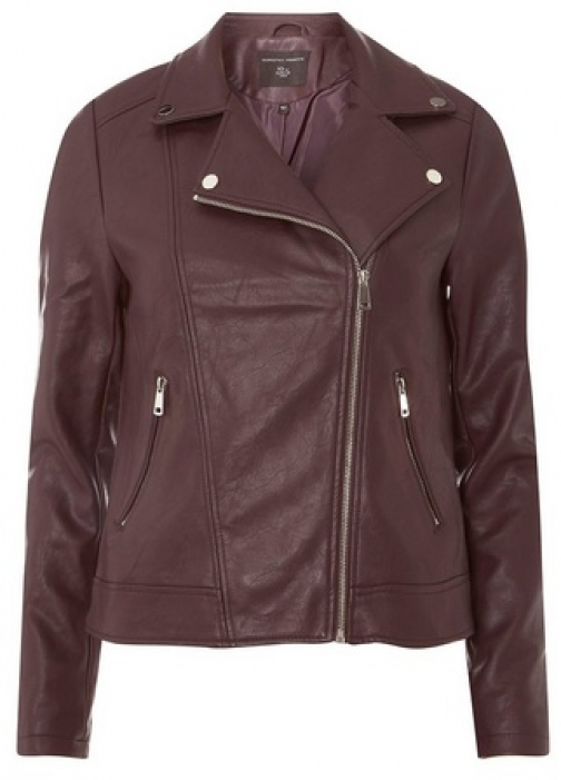 Dorothy Perkins Womens Burgundy Faux-Leather - Red, Red Biker Jacket