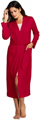 Lands' End Women's Supima Cotton Long - Lands' End - Red - XS Robe
