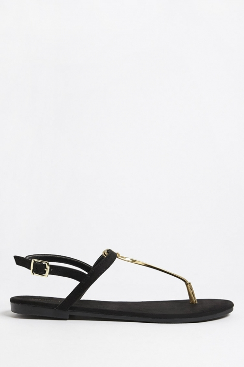 Forever21 Forever 21 Metallic Faux Leather Thong , Black Sandals