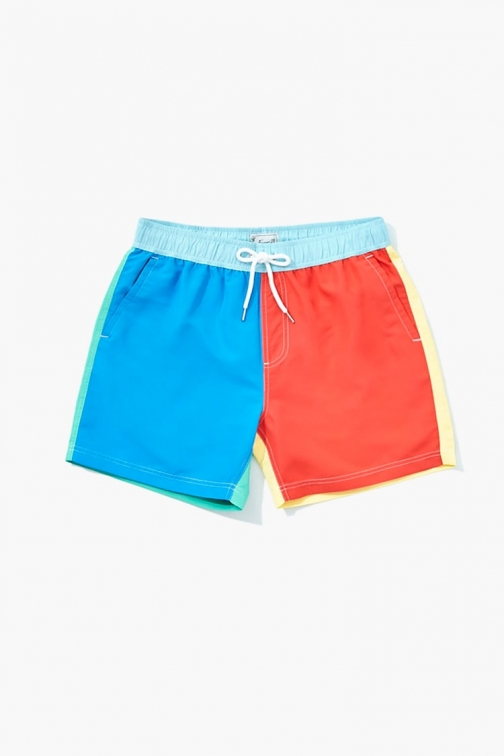 21 Men Colorblock At Forever 21 , Blue/red Swim Trunk