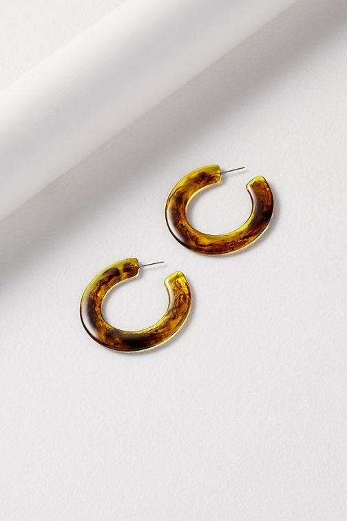 Anthropologie Cloudy Resin Hoop Earring