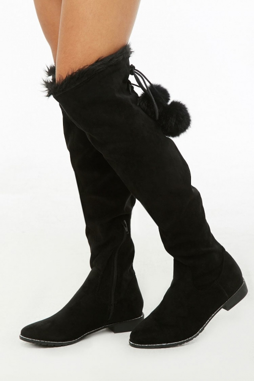 Forever21 Forever 21 Faux Suede Rhinestone-Trim Lace-Up , Black Boot