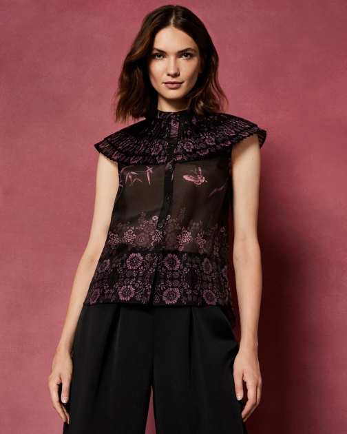 Ted Baker The Orient Ruffle High Neck Top