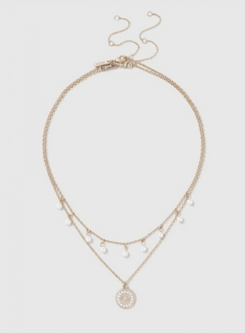 Dorothy Perkins Gold Pearl Effect Multirow Necklace