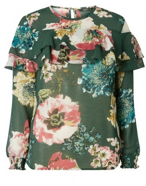 Dorothy Perkins Womens **Only Green Floral Frill - Green, Green Blouse