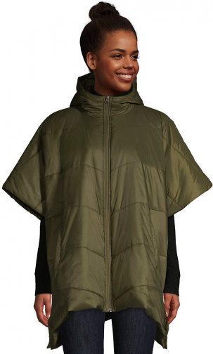 Lands' End Women's Insulated Quilted Packable Hooded - Lands' End - Green - S-M Cape