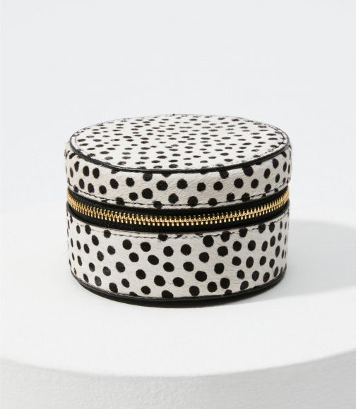 Loft Dot Print Hair Calf Jewelry Case