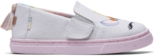 Toms Pastel Shimmer Unicorns Canvas Tiny Luca Slip-Ons Shoes