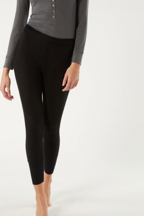 Intimissimi Ribbed Modal Cashmere Ultralight Woman Black Size S Legging