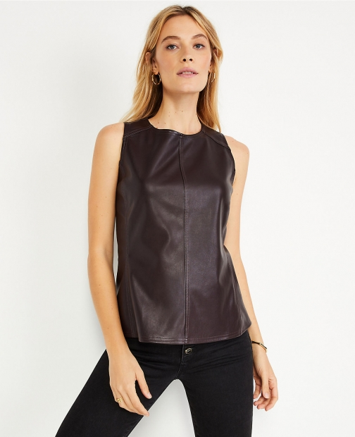 Ann Taylor Petite Faux Leather Shell Top