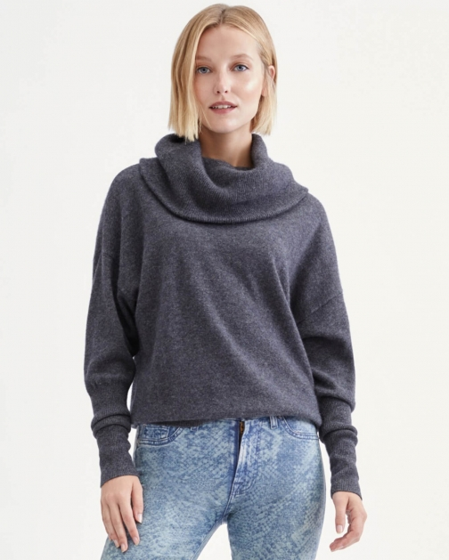 7 For All Mankind Cashmere Funnel Neck Sweater Heather Charcoal Sweatshirt