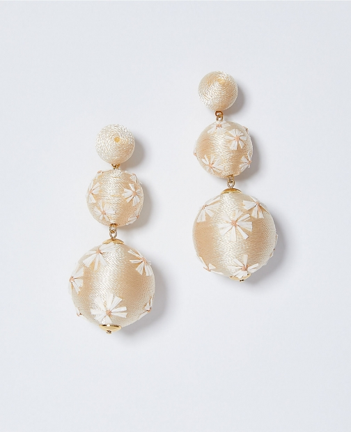 Ann Taylor Floral Straw Wrapped Drop Earring