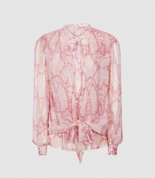 Reiss Erica - Snake Print Pink, Womens, Size 4 Blouse