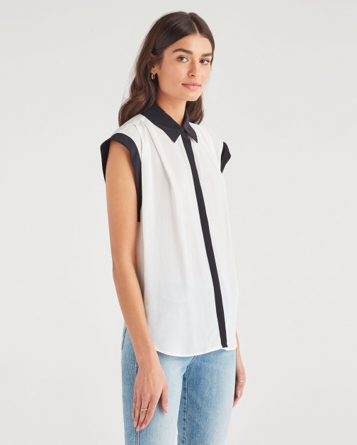 7 For All Mankind Women's Contrast Cuff Drop Shoulder Top Soft White Shirt