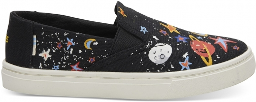 Toms Black Canvas Glow The Dark Cosmic Print Youth Luca Slip-Ons Shoes