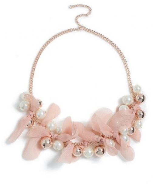 Dorothy Perkins Pink Fabric Flower Necklace