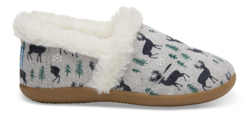 Toms Drizzle Grey Deer Youth - Size UK1 / US2 Slipper