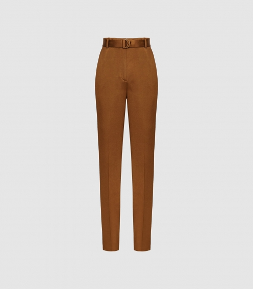 Reiss Primrose - Satin Belted Straight Leg Trousers Tobacco, Womens, Size 4 Trouser