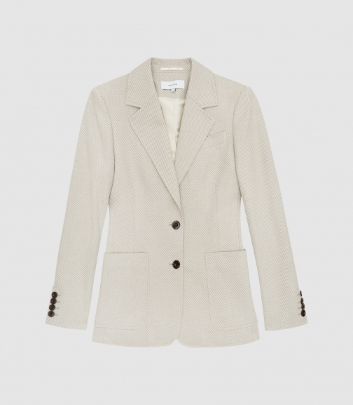 Reiss Alecia - Textured Cotton-blend Neutral, Womens, Size 4 Jacket