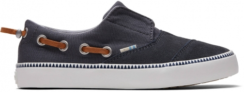 Toms Grey Canvas Suede Youth Pasadena Slip-Ons Shoes