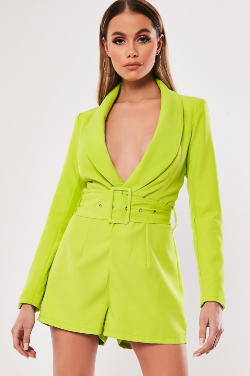 Missguided Belted Plunging Romper At Forever 21 , Neon Green Jumpsuit