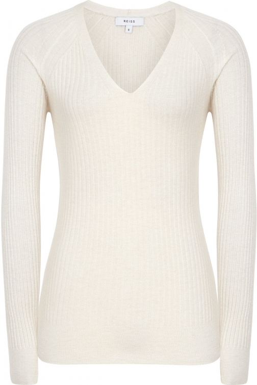 Reiss Elouise - Ribbed V-neck Off White, Womens, Size L Jumper