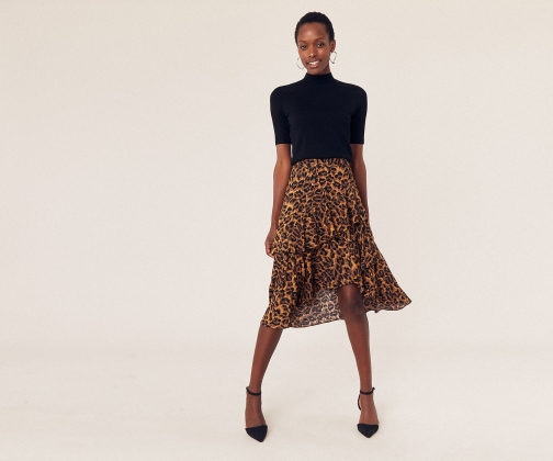 Oasis Leopard Tiered Skirt