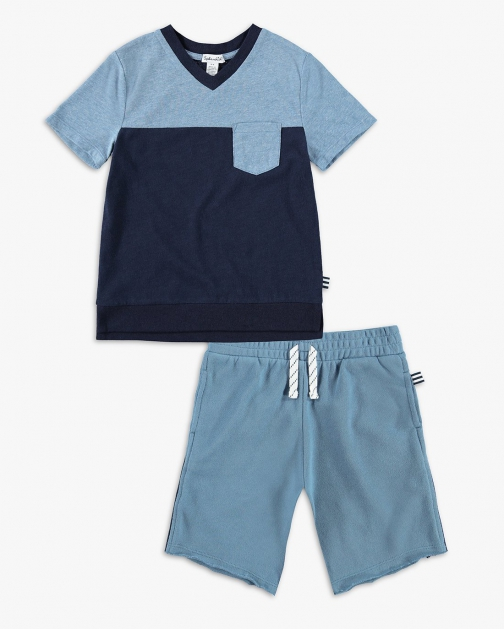 Splendid Little Boy Color Block Pocket Tee Set T-Shirt