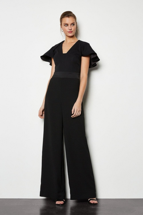 Karen Millen Sculpted Sleeve Black, Black Jumpsuit