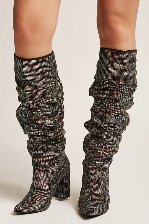 Forever21 Forever 21 Faux Crystal Knee-High Boots , Multi Knee High Boots