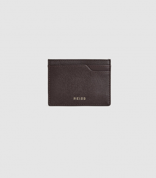 Reiss Charlie - Pebble Grained Leather Berry, Womens Card Holder