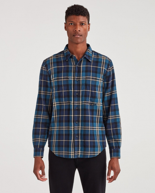 7 For All Mankind Men's Long Sleeve Tripple Needle Worker Navy Plaid Shirt
